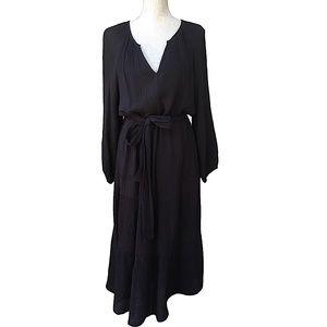 VELVET Black Long Balloon Sleeve Slub Maxi Dress L